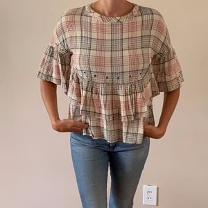 Plaid Peplum Blouse with Metal Ring Embellishments